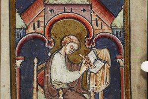 Medieval painting of Bede