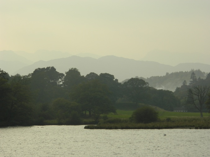 Mist over Lake Windermere: where the Wordsworths walked.