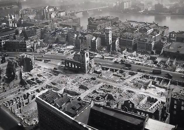 Southwark bridge to Blackfriars in the Blitz