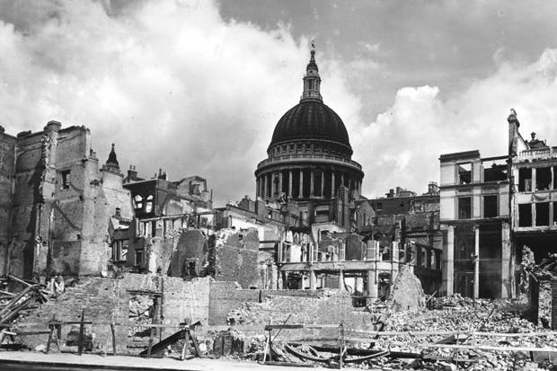 St Paul's surrounded by bomb damage